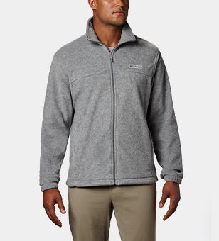 Man in a gray fleece full-zip jacket.