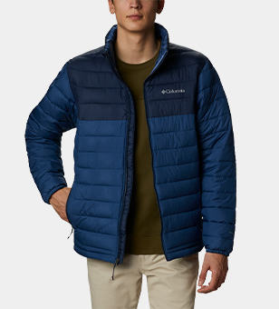 Man in a blue puffer.