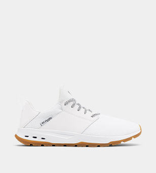 White mens boating sneaker.
