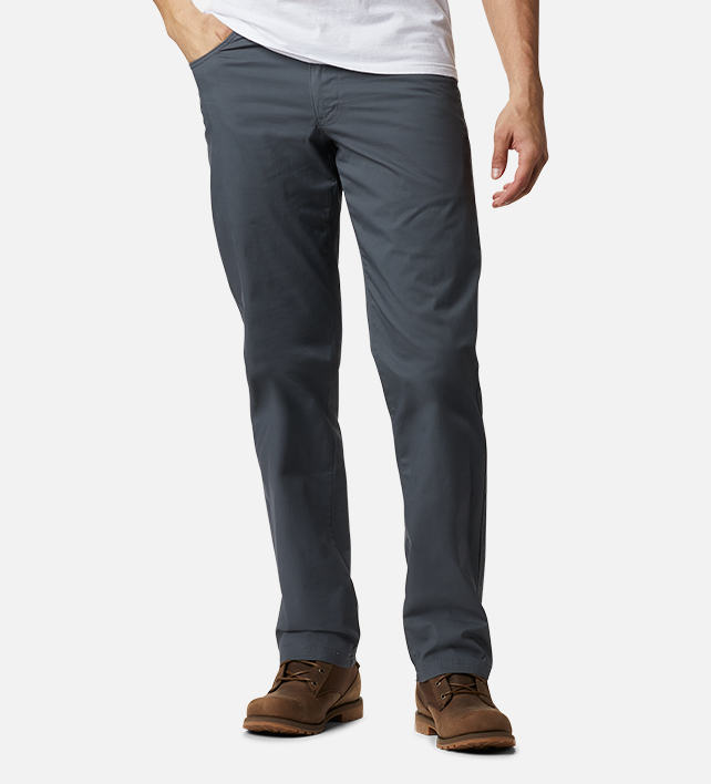 Man in grey hiking pants.