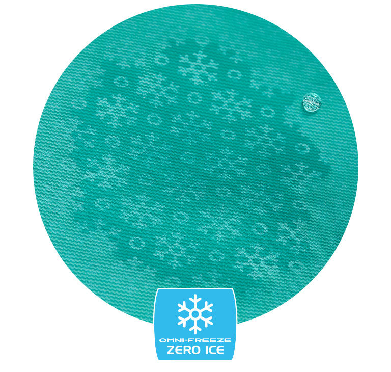 Close up of Omni-Freeze Zero Ice fabric. Tech badge below.