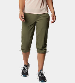 Woman in khaki hiking pants.