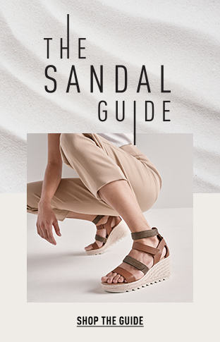 THE SANDAL GUIDE, a woman wearing Cameron Multi Strap Wedge sandals, SHOP THE GUIDE