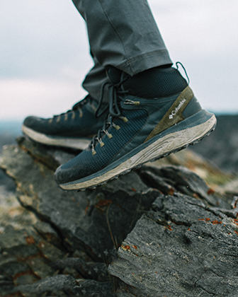Trailstorm Columbia hiking boots on a rock.
