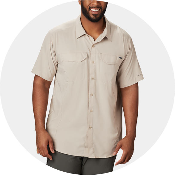 Man in a tan button up SIlver Ridge Lite Short Sleeve Shirt