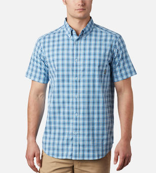 Man in a blue plaid button-down shirt.
