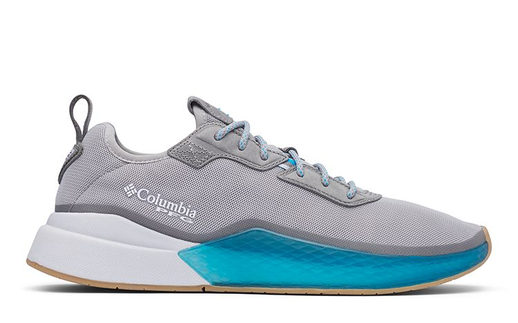 A PFG Low Drag shoe in white, grey, and blue.