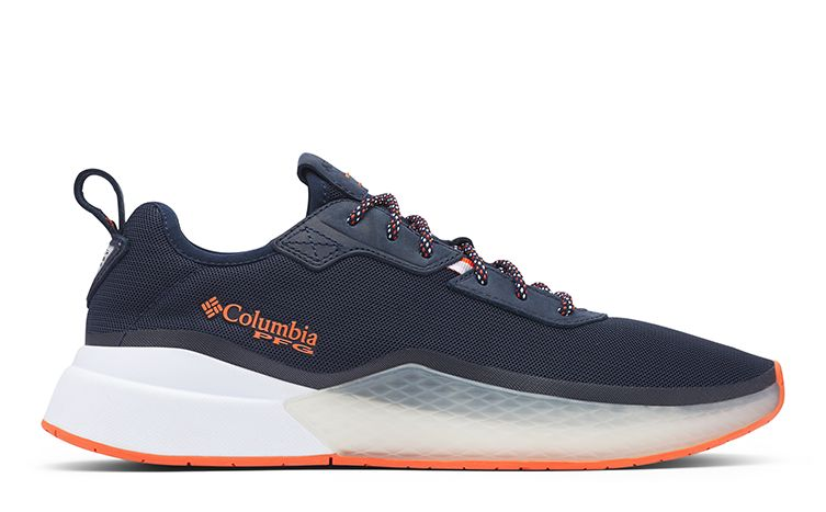 A PFG Low Drag shoe in black, white, and orange detailing.