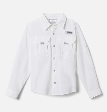 Boys' PFG Bahama™ Long Sleeve Shirt Bahama™ Long Sleeve Shirt | 479 | XL, White, front
