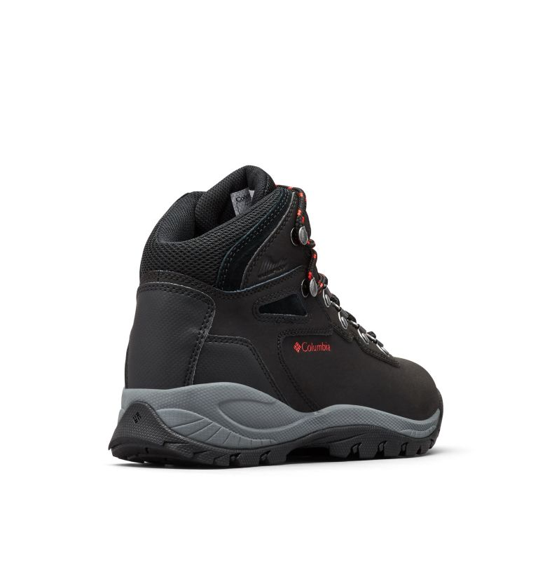 NEWTON RIDGE™ PLUS | 010 | 11 Women's Newton Ridge™ Plus Waterproof Hiking Boot, Black, Poppy Red, 3/4 back