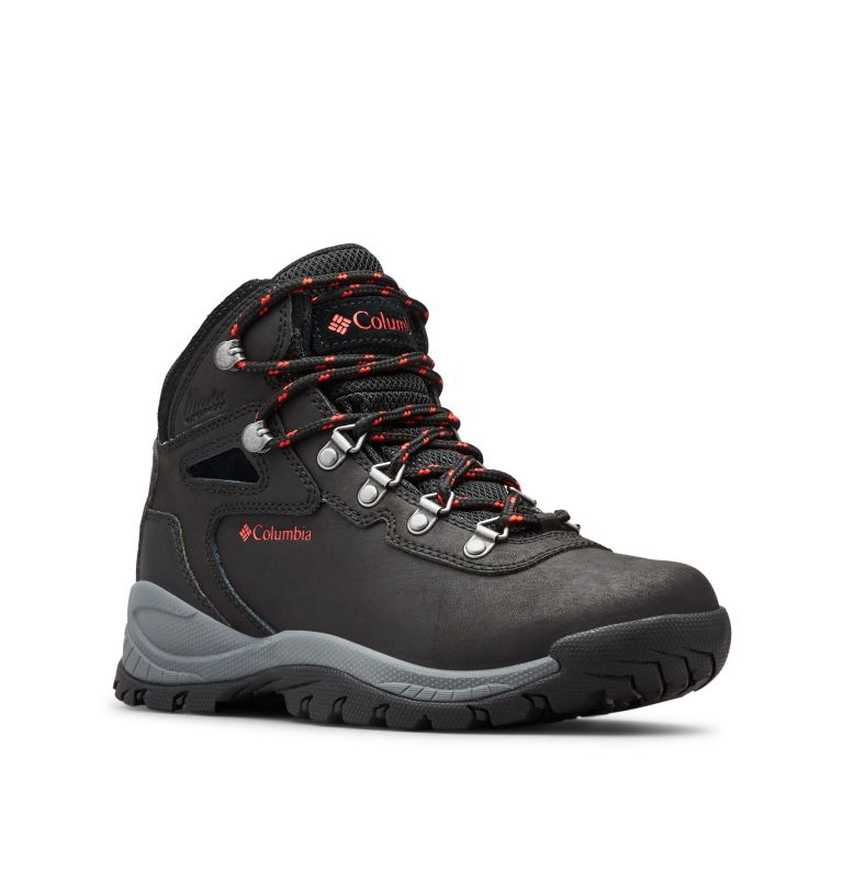 NEWTON RIDGE™ PLUS   010   11 Women's Newton Ridge™ Plus Waterproof Hiking Boot, Black, Poppy Red, 3/4 front