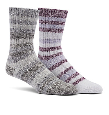 Super Soft Stripe Crew Sock  Medium Weight  2-Pack C858 2PP SUPER SOFT STRIPE CREW MEDIUM W | 538 | M, Black Cherry, front