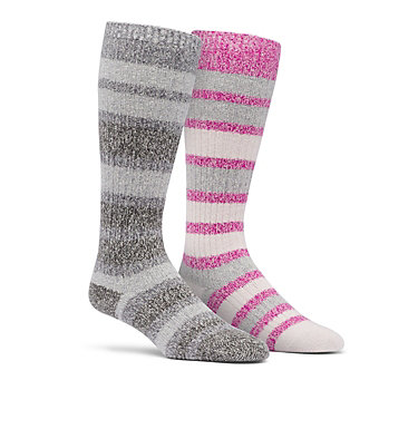 Super Soft Stripe Knee High Sock  Medium Weight 2-Pack C859 2PP SUPER SOFT STRIPE KNEE MEDIUM W | 639 | S, Fuchsia, front