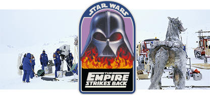 On location shot of cast and crew in jackets and detail of Vader with Flames patch