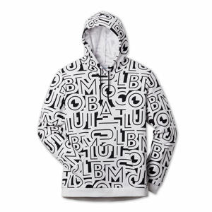 A black and white printed hoodie.