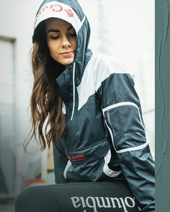 Woman wearing a Challenger Windbreaker