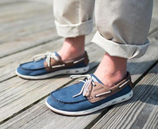 A man wearing Dorado CVO PFG shoes.