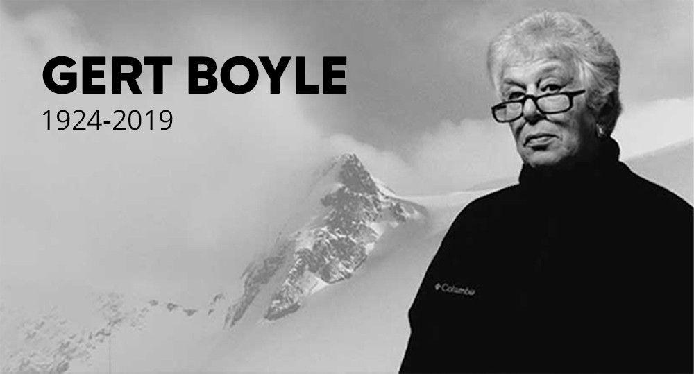 Alt Text: Image of Founder Gert Boyle with mountains in the background.