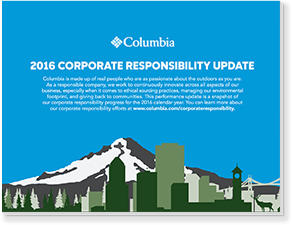 Cover of the 2016 Columbia Corporate Responsibility Report.