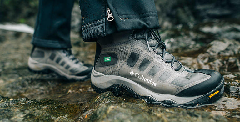 Close-up image of OutDry Extreme Eco hiking boots.