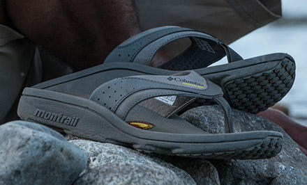 Close-up of a sandal with PRFRM cushioning.