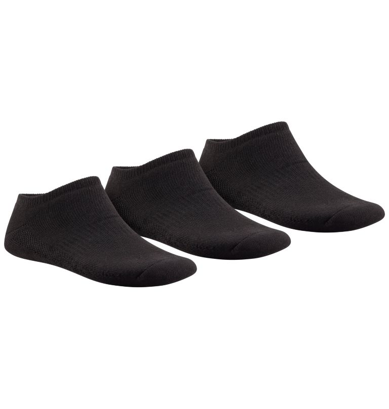 No Show - Full Cushion, Arch S | 010 | O/S Big Kids' Sport No Show Socks - 3 Pack, Black, front