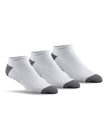 Men's Athletic Cushioned No Show Socks - 3 Pack Athletic No Sho-WHT | 100 | O/S, White/Grey, 3/4 front