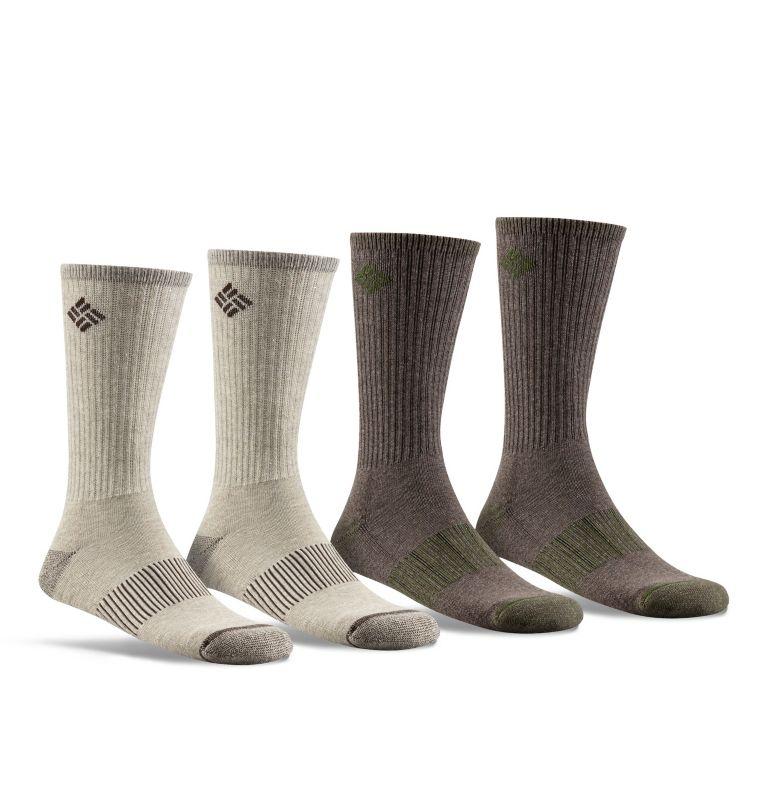 4pk Moisture Control Med-Weigh | 260 | O/S Men's Heather Rib Crew Sock - 4 Pack, Khaki, front