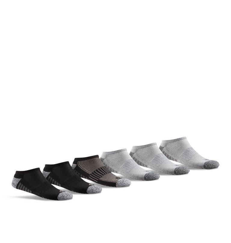 Mens No Show 1/2 Cushion 6pr | 011 | O/S Men's Sport No Show Sock, Black, front