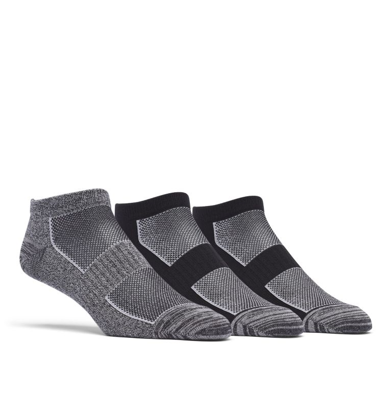Womens No Show Marl & Space-Dye 3pr | 010 | O/S Women's Flat Knit Marled & Space Dye No-Show Sock - 3 Pack, Black, front