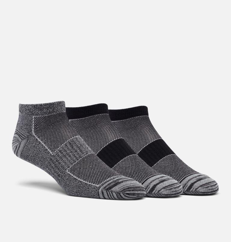 Womens No Show Marl & Space-Dye 3pr | 010 | O/S Women's Flat Knit Marled & Space Dye No-Show Sock - 3 Pack, Black, front