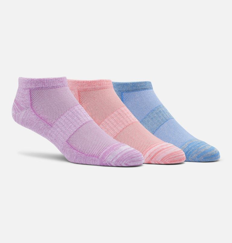 W's Flat Knit Marled & Space Dye No-Show | 553 | O/S Women's Flat Knit Marled & Space Dye No-Show Sock - 3 Pack, BLOSSOM/SALMON/LAPIS BLUE, front