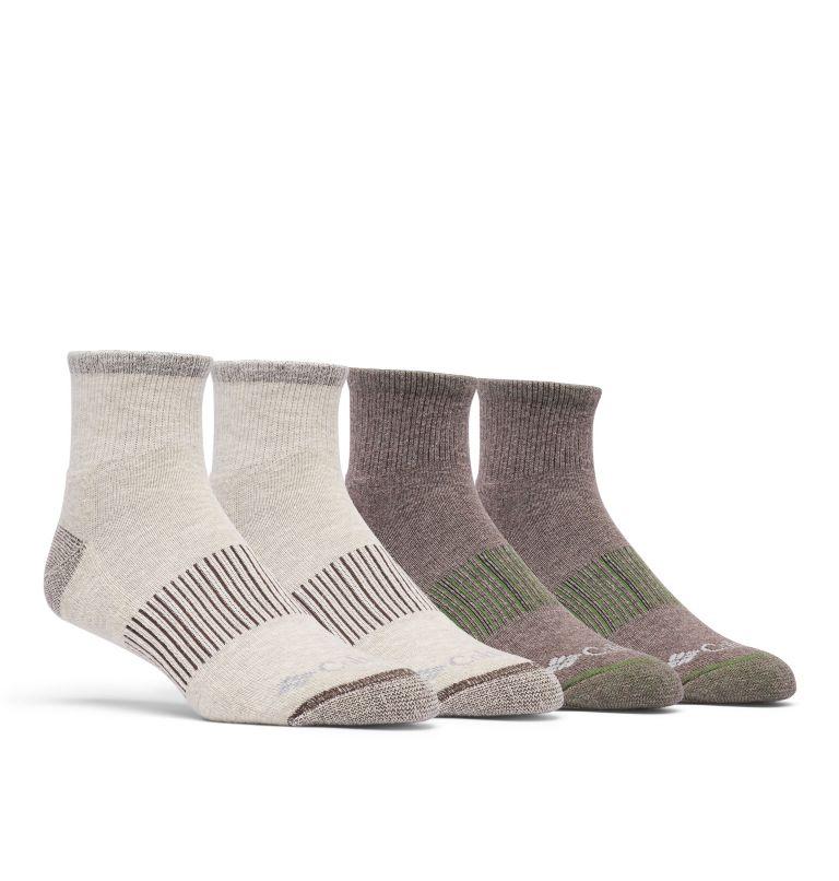Men's Heather Rib Quarter Sock 4 pair   160   O/S Men's Heather Rib Quarter Sock - 4 Pack, Fossil, front