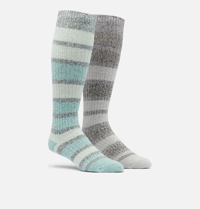Super Soft Micro Poly Canyon Stripe Knee-High | 373 | O/S Women's Super-Soft Canyon Stripe Knee - 2 Pack, Stone Green Multi, front