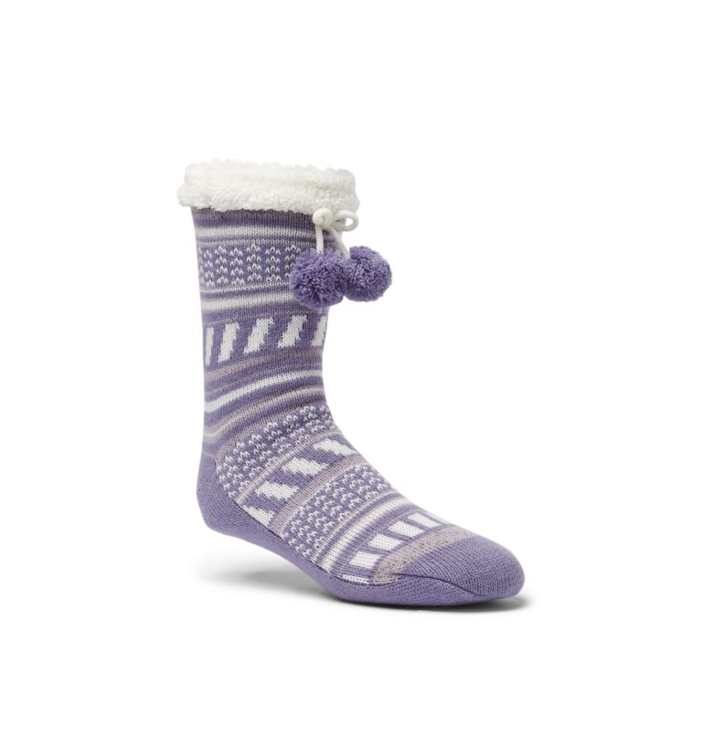 Women's Ribbed Stripe Slipper Sock | 522 | S/M Women's Ribbed Slipper Socks, Purple, front