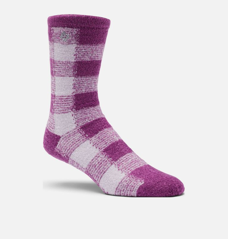 Buffalo Plaid Cozy | 548 | O/S Women's Buffalo Plaid Cozy Socks - 1 Pair, Plum Purple, front