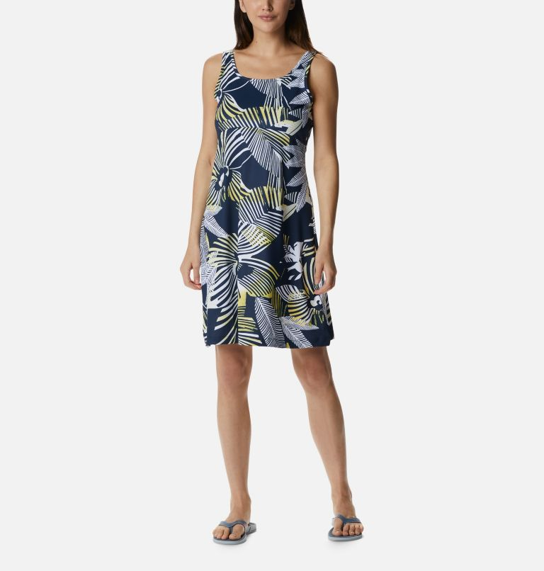 Freezer™ III Dress | 493 | L Women's PFG Freezer™ III Dress, Collegiate Navy Stencil Hibiscus Print, front