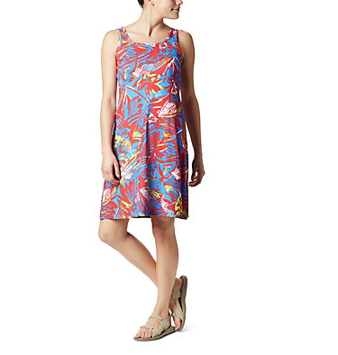 Women's PFG Freezer™ III Dress Freezer™ III Dress | 658 | L, Bright Red Shade Leaves Print, front