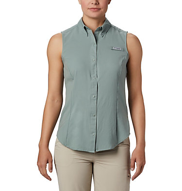 Women's PFG Tamiami™ Sleeveless Shirt Tamiami™ Women's Sleeveless Shirt | 305 | S, Light Lichen, front