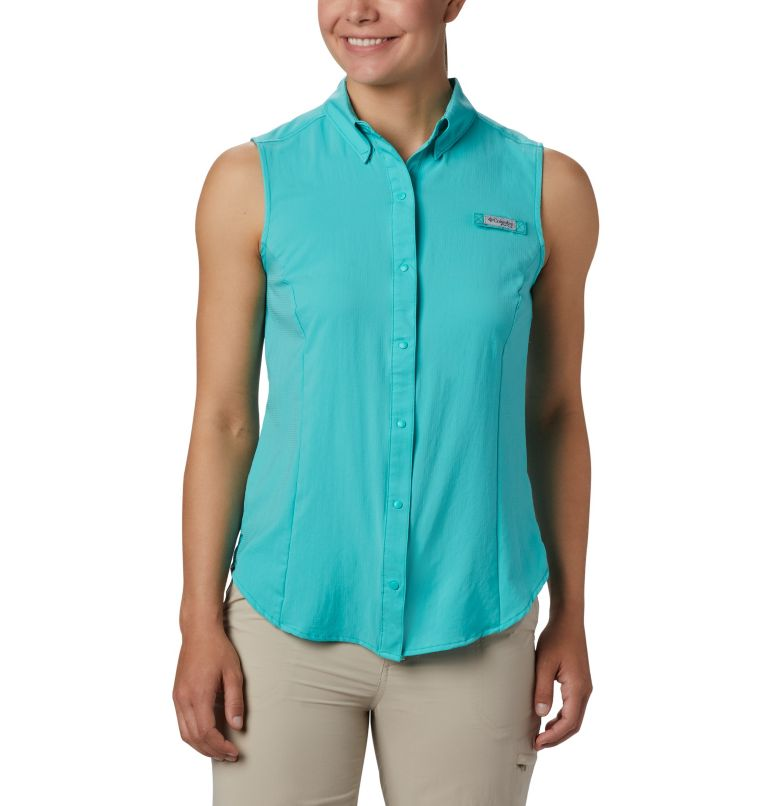 Tamiami™ Women's Sleeveless Shirt | 356 | L Women's PFG Tamiami™ Sleeveless Shirt, Dolphin, front