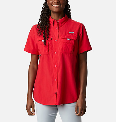 Women's PFG Bahama™ Short Sleeve Shirt Womens Bahama™ SS | 475 | XS, Red Lily, front