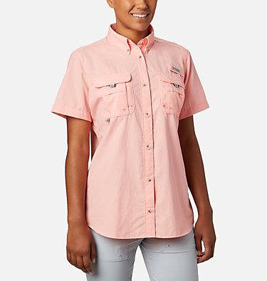 Women's PFG Bahama™ Short Sleeve Shirt Womens Bahama™ SS | 475 | XS, Tiki Pink, front