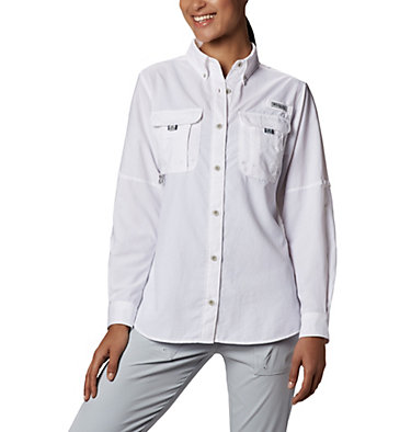 Women's PFG Bahama™ Long Sleeve Shirt Womens Bahama™ LS | 856 | M, White, front