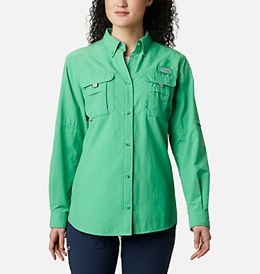 Women's PFG Bahama™ Long Sleeve Shirt Womens Bahama™ LS | 856 | M, Emerald City, front