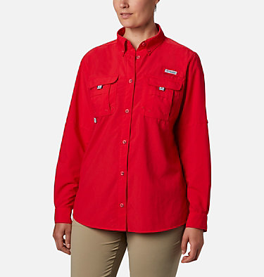 Women's PFG Bahama™ Long Sleeve Shirt Womens Bahama™ LS | 856 | M, Red Lily, front