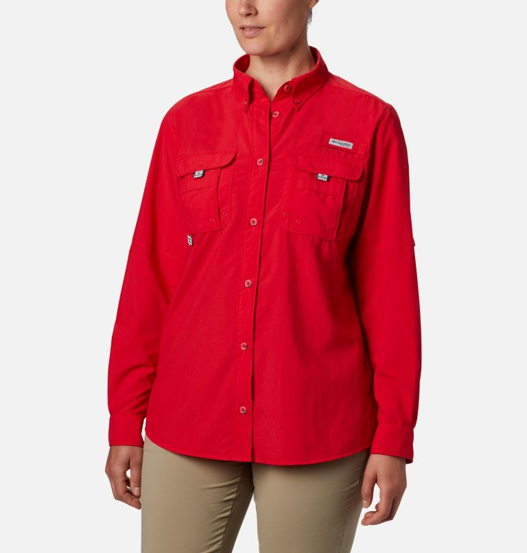 Womens Bahama™ LS | 658 | L Women's PFG Bahama™ Long Sleeve Shirt, Red Lily, front