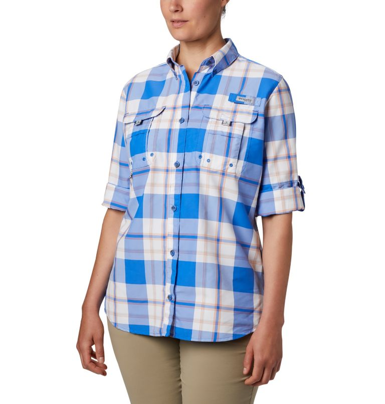 Womens Super Bahama™ LS | 428 | M Women's PFG Super Bahama™ Long Sleeve Shirt, Stormy Blue Plaid, a1