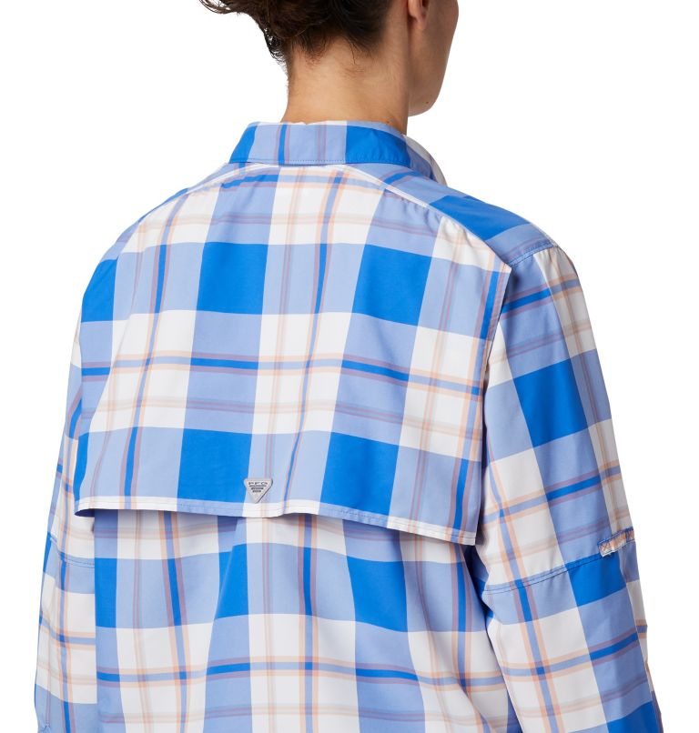 Womens Super Bahama™ LS | 428 | M Women's PFG Super Bahama™ Long Sleeve Shirt, Stormy Blue Plaid, a2