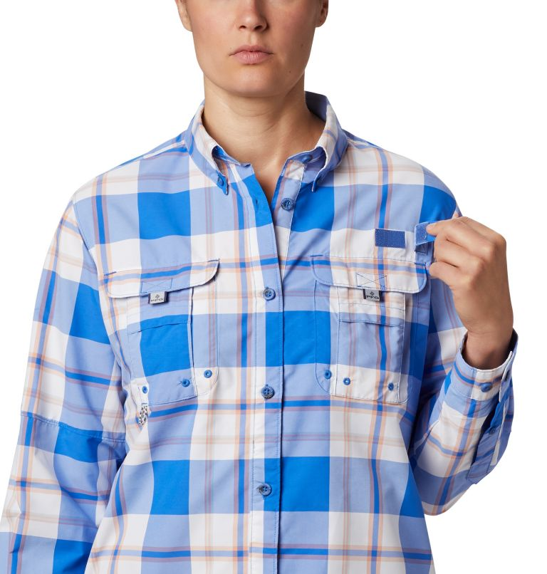 Womens Super Bahama™ LS | 428 | M Women's PFG Super Bahama™ Long Sleeve Shirt, Stormy Blue Plaid, a3