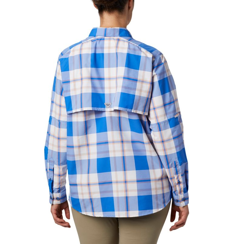 Womens Super Bahama™ LS | 428 | M Women's PFG Super Bahama™ Long Sleeve Shirt, Stormy Blue Plaid, back